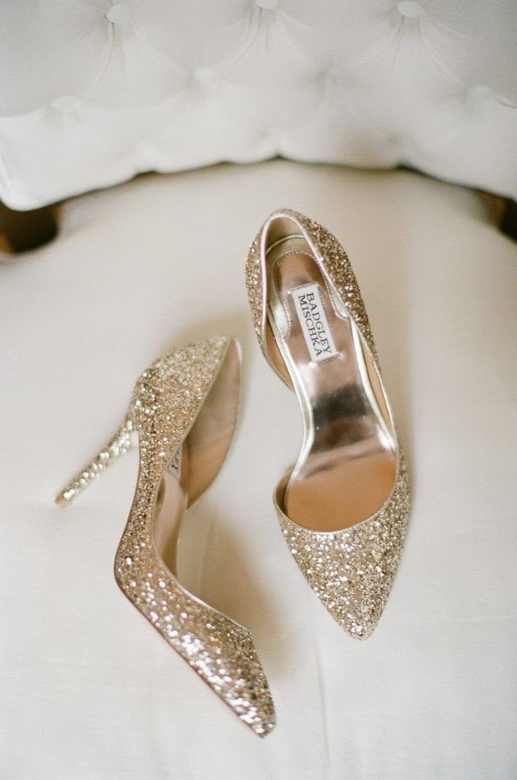 Gold sequin wedding shoes