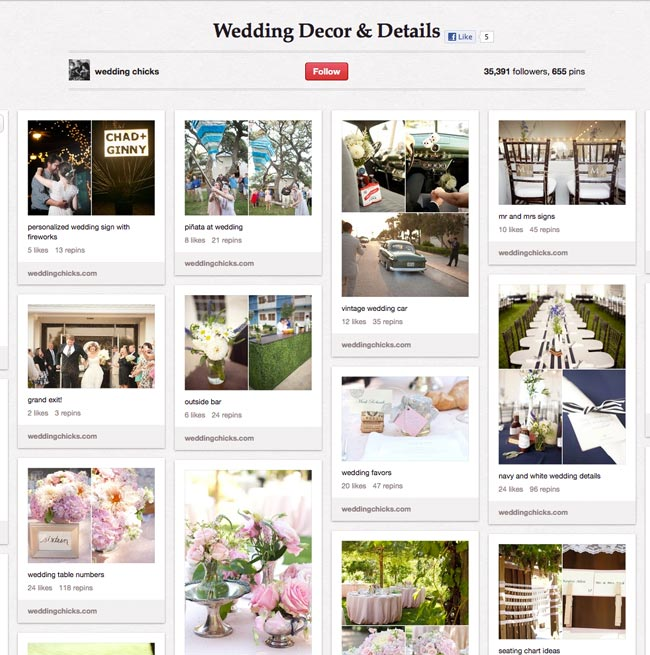 setting up a pinterest boards for weddings