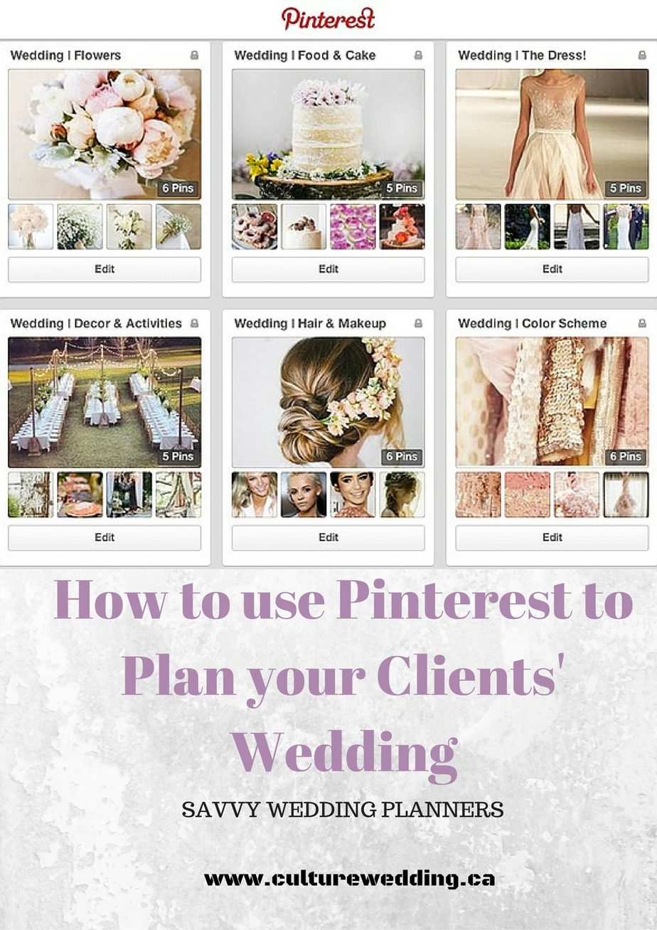 How to use Pinterest to Plan your Clients' Wedding