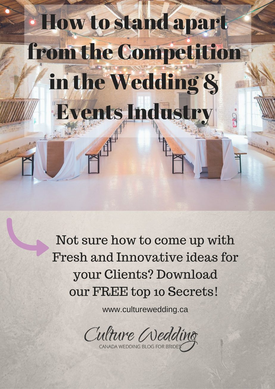 How to stand apart from the Competition in the wedding Industry