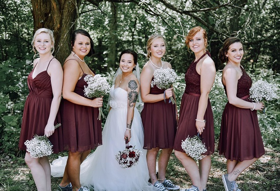 Bridesmaids rustic wedding