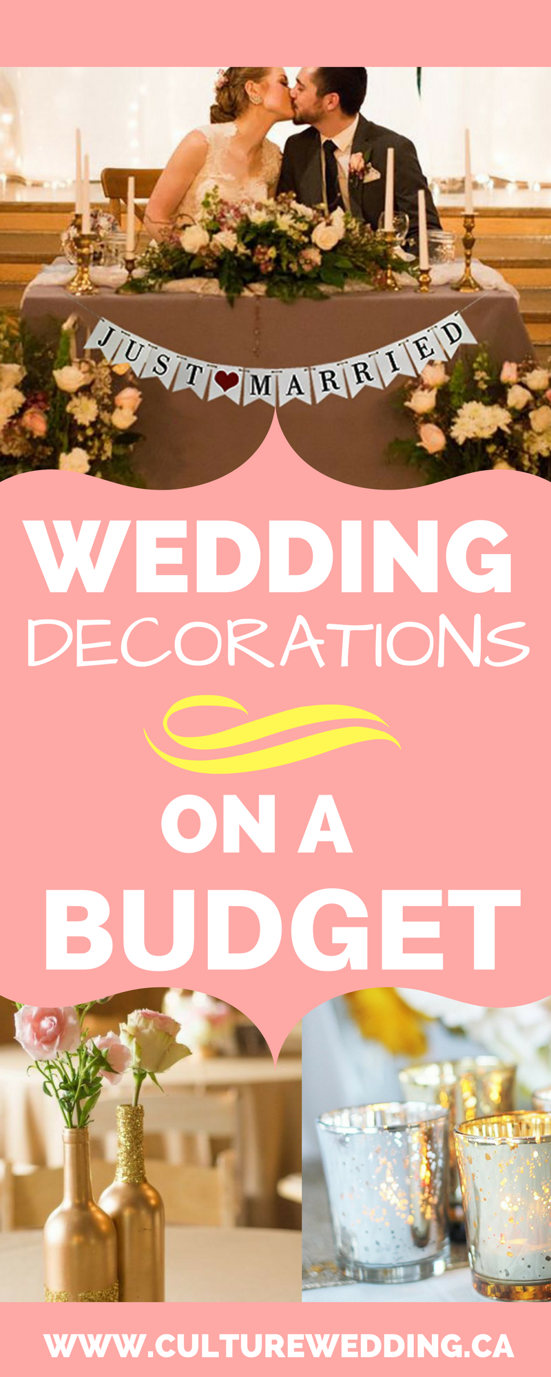 Wedding decorations on a budget. Wedding decoration ideas. Wedding reception decorations, Wedding decorations DIY. Unique wedding reception ideas on a budget. DIY Wedding decoration. Centerpieces on a budget. Affordable wedding ideas for your wedding. Budget friendly wedding decoration hacks. #weddingplanning #weddingdecorations #weddingonabudget