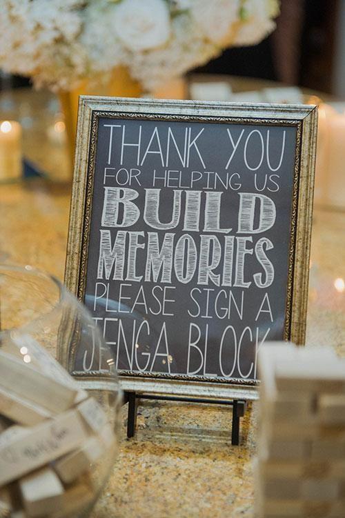 Jenga wedding guest book idea.
