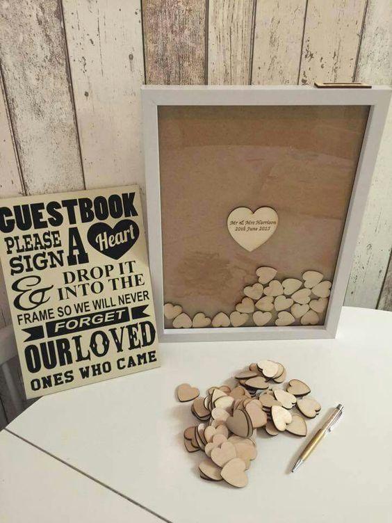 Shadow box alternative guest wedding book idea.