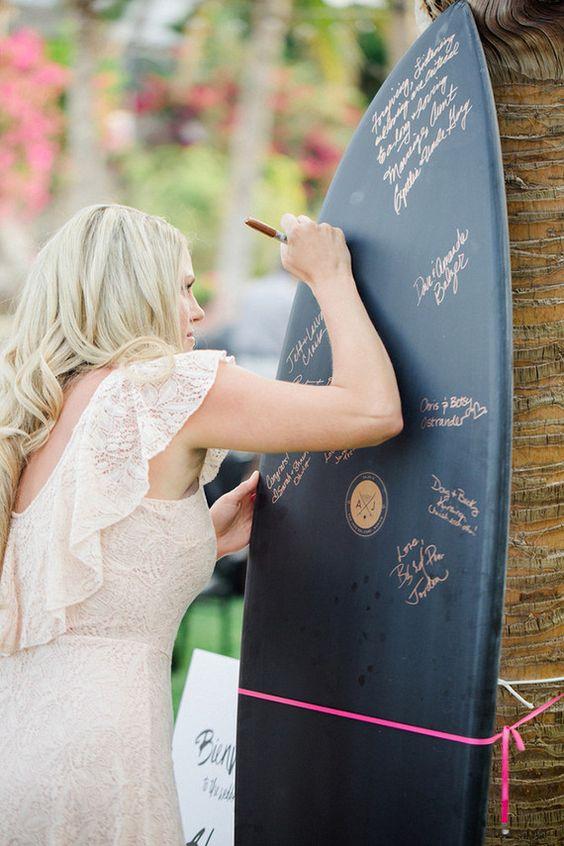 surf board guest book wedding