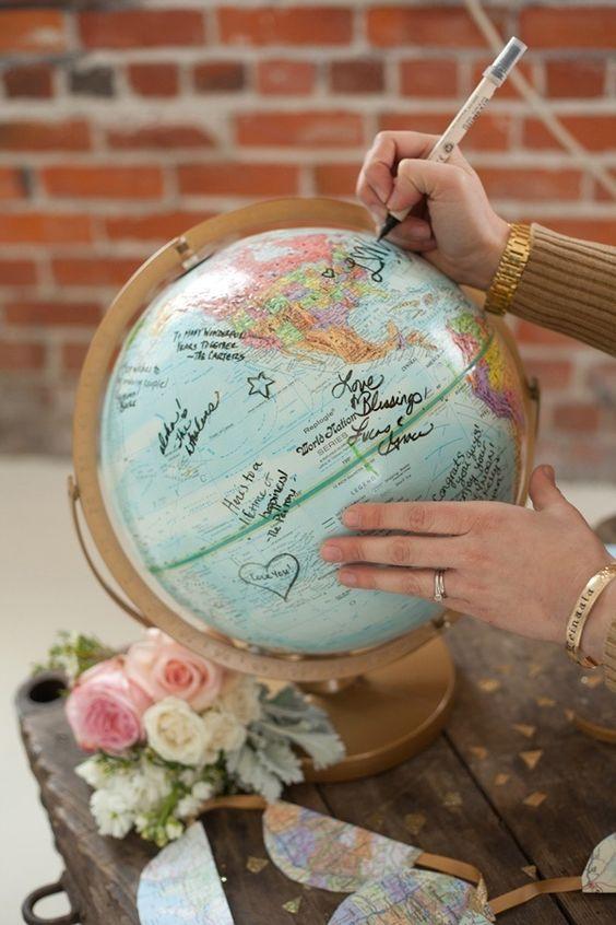 Wedding globe guestbook book alternative ideas