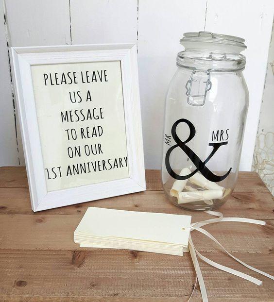 Message in a jar wedding guestbook idea