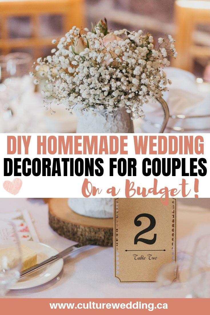 If you are looking for cheap DIY homemade wedding decoration ideas for your day, then look no further than this. We have a lot of DIY budget wedding decor ideas you can use #diywedding #cheapwedding