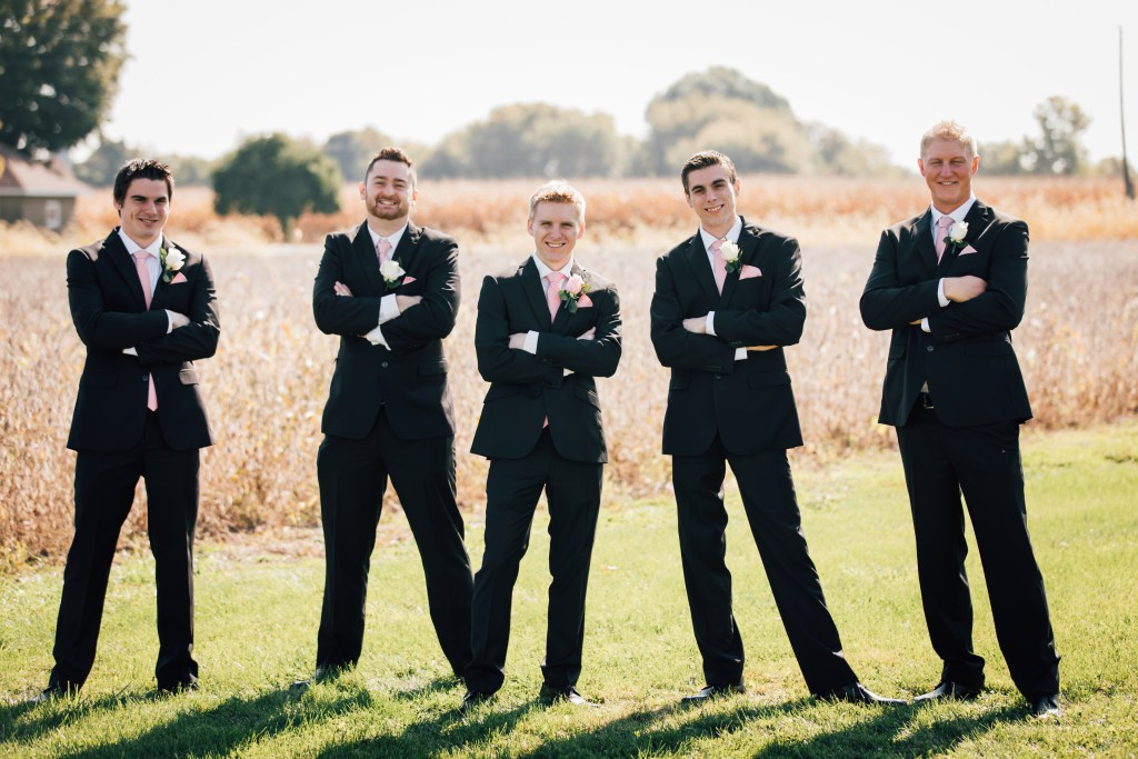 Groomsmen in pink. Pastel pink and white wedding inspiration