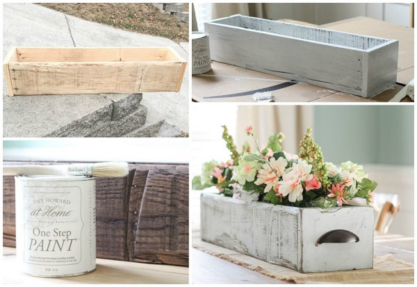 DIY Farmhouse wooden box wedding centerpiece for a rustic wedding. DIY Farmhouse decor ideas for the home that can be used for inspiration to plan your wedding. DIY Rustic wedding decor ideas that you can steal from farmhouse decorations to inspire your style. Farmhouse modern decor ideas to use for your wedding inspiration #modernhomedecor #farmhousedecor #rusticwedding #decorideas