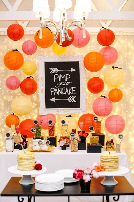 Pancake bar for your wedding. Here is a list of creative wedding bar ideas you can use to set up your wedding. Wedding decoration ideas that will wow your wedding guests. Here is a list of the best food reception stations you can set up to entertain your wedding guests. Unique Wedding station ideas for your reception. #Weddingstation #weddingbarideas #weddingideas