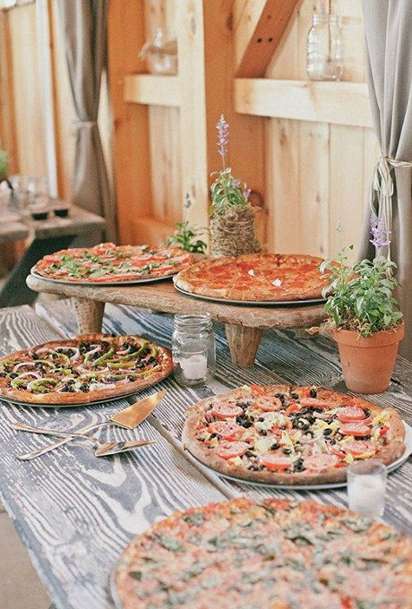 Pizza bar for your wedding. Here is a list of creative wedding bar ideas you can use to set up your wedding. Wedding decoration ideas that will wow your wedding guests. Here is a list of the best food reception stations you can set up to entertain your wedding guests. Unique Wedding station ideas for your reception. #Weddingstation #weddingbarideas #weddingideas