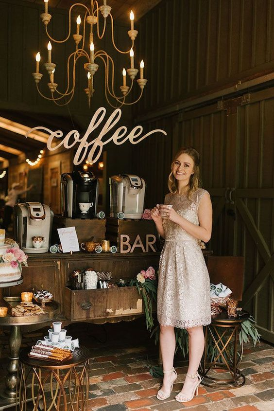 coffee bar for your wedding. Here is a list of creative wedding bar ideas you can use to set up your wedding. Wedding decoration ideas that will wow your wedding guests. Here is a list of the best food reception stations you can set up to entertain your wedding guests. Unique Wedding station ideas for your reception. #Weddingstation #weddingbarideas #weddingideas