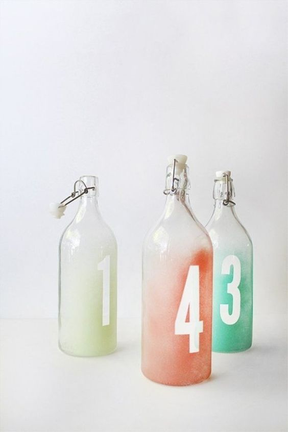 These bottles can be used as table numbers. These are some of the best ikea wedding hacks to use. If you are looking for affordable DIY wedding decoration ideas, be sure to check this post #ikeaweddinghacks #diywedding