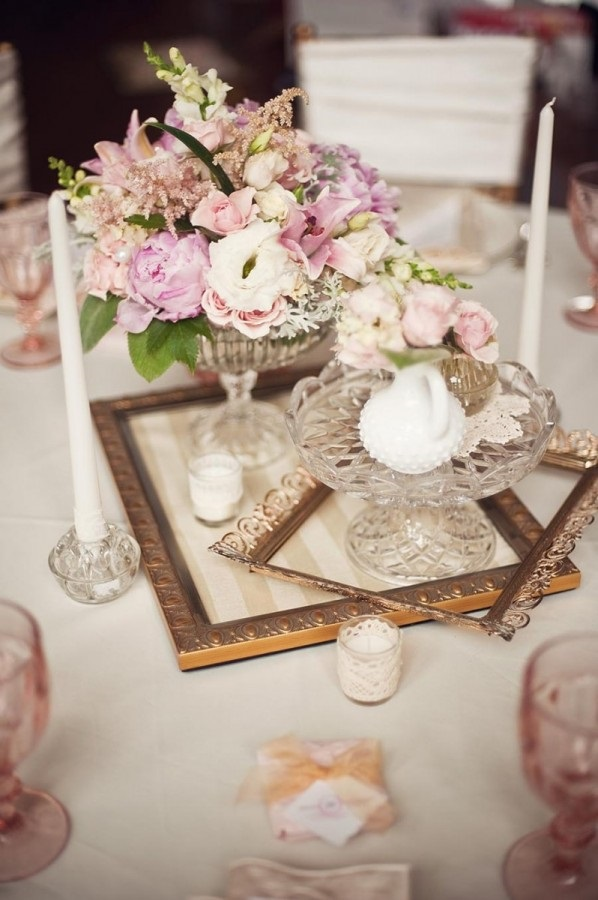 unique vintage wedding centrepiece. How to plan a vintage wedding on a budget.
