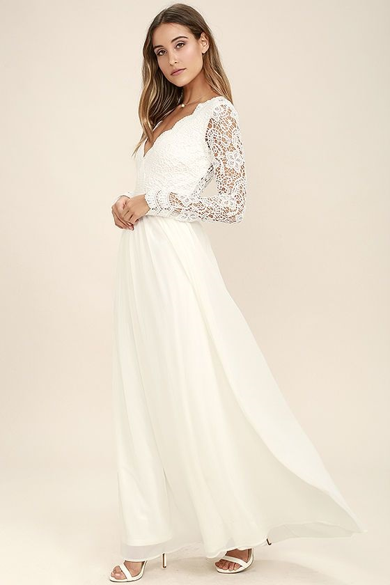 Lulu's wedding dresses under $100 - Awaken My Love White Long Sleeve Lace Maxi Dress Lulu's