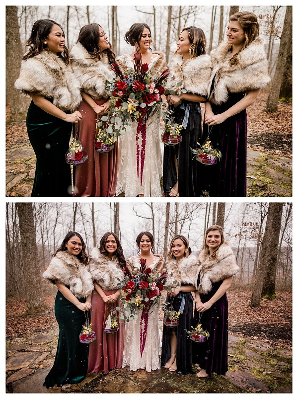 bridesmaids dresses winter wedding ideas