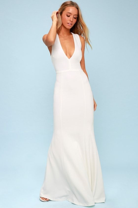 lulu's wedding dresses are completely stunning. HEAVEN AND EARTH WHITE MAXI DRESS LULUS