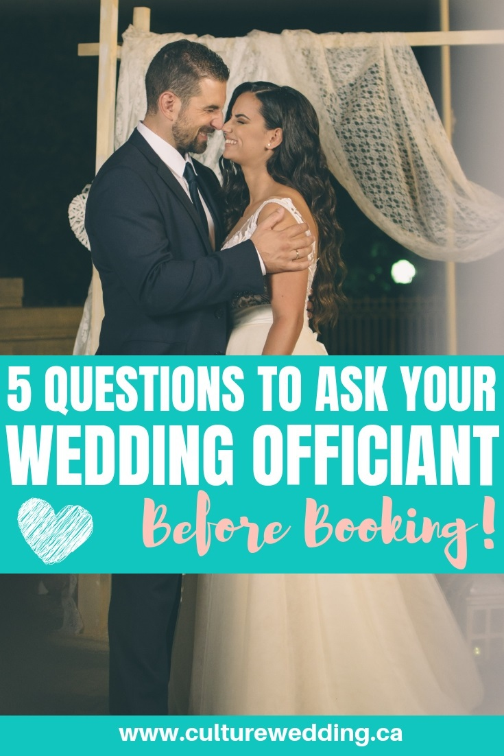 Here are a few questions to ask your wedding officiant before booking. Booking your wedding officiant is part of your wedding planning steps #weddingofficiant #weddingplanning
