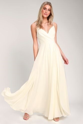 SHOP LULU'S WEDDING DRESSES: 11 WEDDING DESIGNS FOR UNDER $100 - ALL ABOUT LOVE CREAM MAXI DRESS