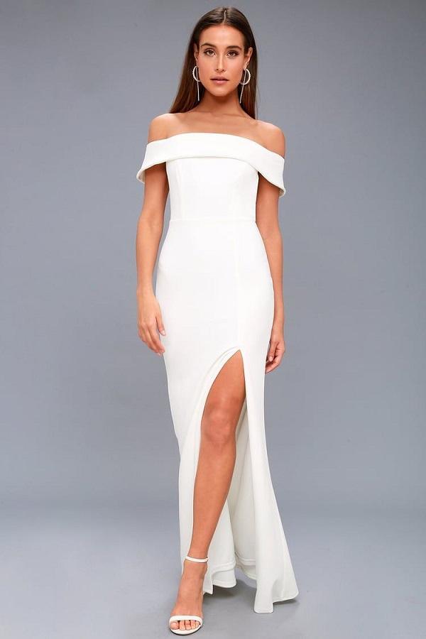 AVELINE WHITE OFF-THE-SHOULDER MAXI DRESS LULUS - bridal dress from Lulu's