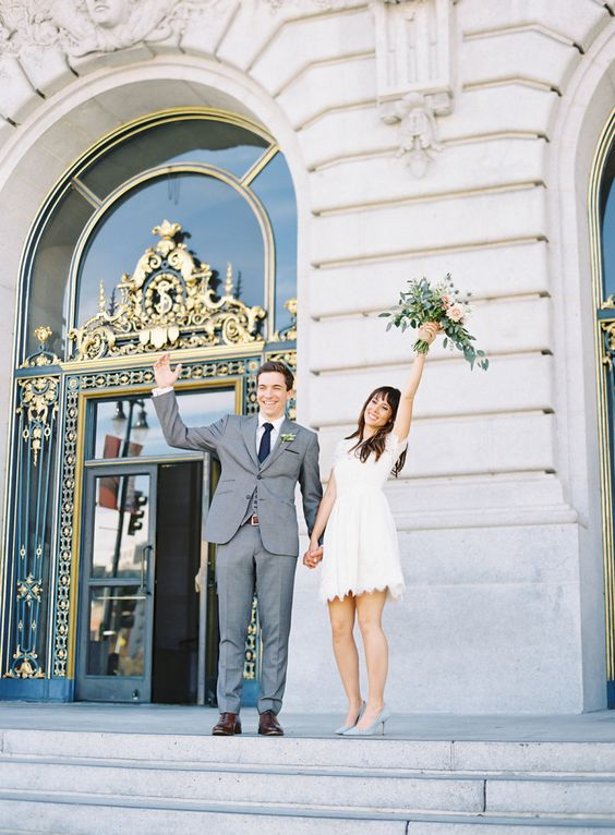 In love with this City hall wedding! Get married at the courthouse today and save money!