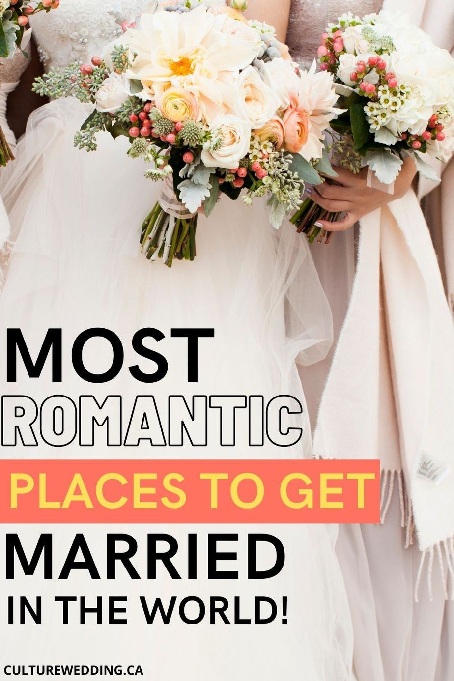 Here are the most beautiful places to get married! From picturesque mountaintops and vineyards to white-sand beaches, check out our list of the world's most beautiful places to get married.
