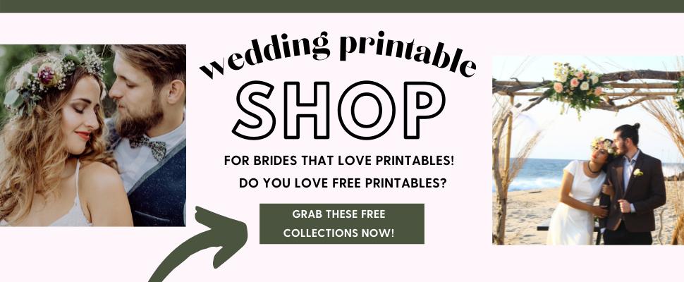 The Wedding Printable shop! Wedding printables for planning weddings!