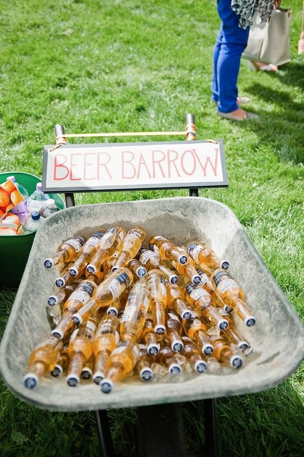 Outdoor beer station for those having a backyard wedding!