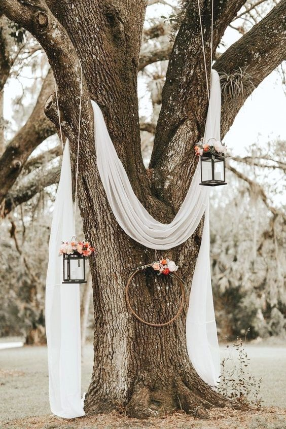 Simple backyard ceremony set up