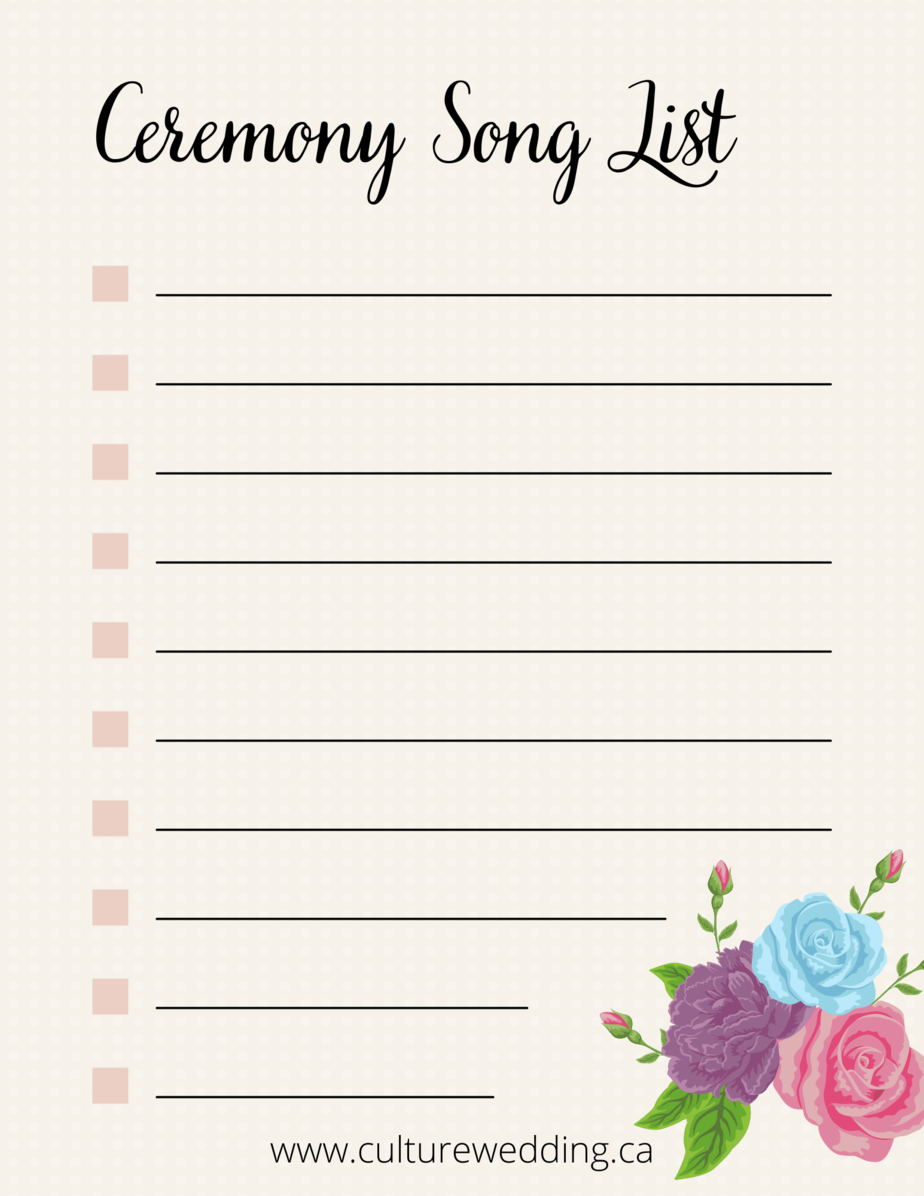 Grab this wedding music checklist printable to plan your wedding songs. This wedding ceremony music template will help you stay organized during your wedding planning.