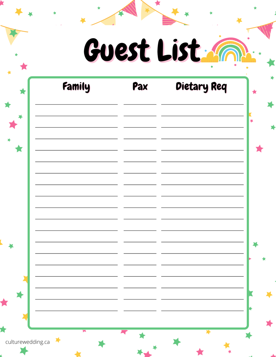 Event Guest List - Printable! Grab this Guest list template printable to keep track of your guest that you plan on inviting to your party!