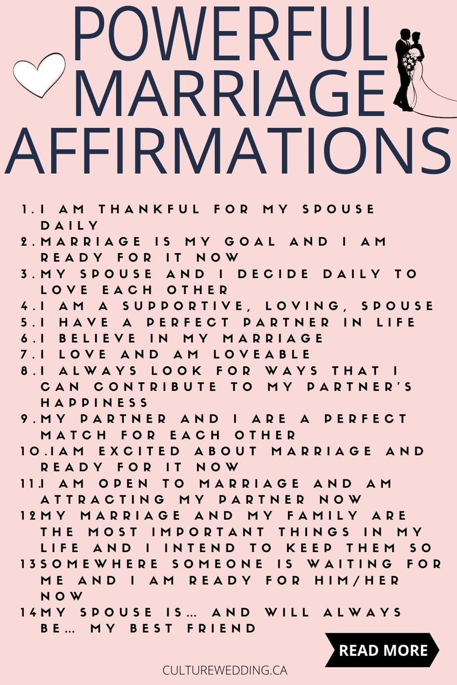 Affirmations for love and marriage! Are you looking for affirmations for getting married? Here are 25 Positive Marriage Affirmations — Culture Wedding! If you are looking for your spouse to propose, or you are looking for a spouse to marry or if you have marriage troubles, repeat these to yourself to inspire you to work on your marriage. Help yourself by working on your mindset so you can have a healthy approach to get a healthy and happy marriage.