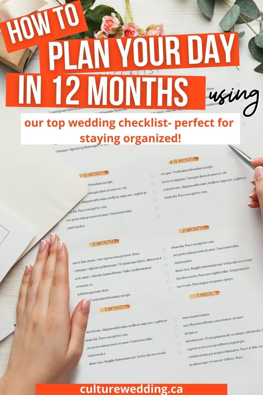 Tips for planning a wedding. 12 month wedding planning checklist.
